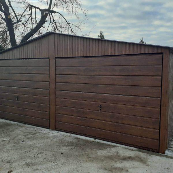 Plechová garáž 6×6 sedlová strecha orech mat