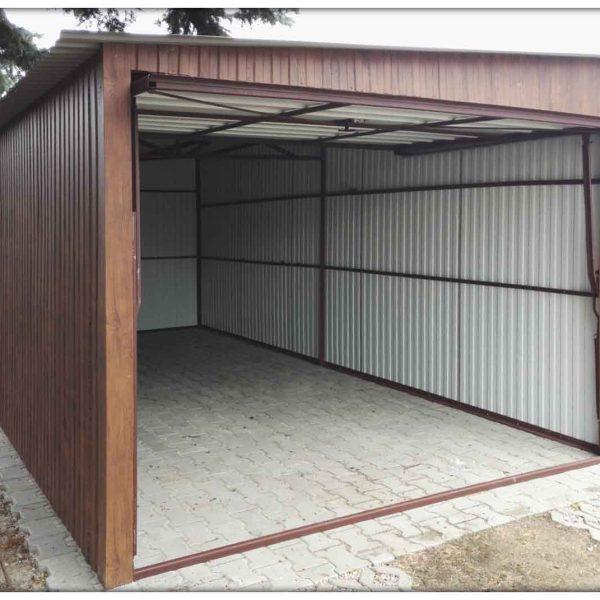 3x5m garázs oldalra lejtő tetővel - sötét matt dió